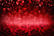 Leinwanddruck Bild valentines day background, red roses and bokeh lighting blurred effect