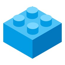 Lego Cube Piece Icon. Isometric Of Lego Cube Piece Vector Icon For Web Design Isolated On White Background