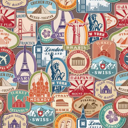 Obrazy Londyn   wzor-podrozy-znaczki-imigracyjne-naklejki-z-zabytkowymi-obiektami-kultury-wiza-podrozna