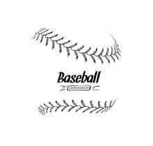 Hand-drawn Baseball Ball Isola...
