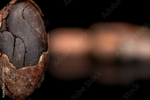 Photo Lot of whole fresh brown cocoa bean cracked husk isolated on black glass