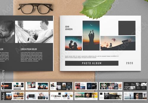 Fototapeta Photo Album Layout with Black Accents obraz
