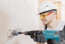 Builder Worker Pneumatic Hamme...