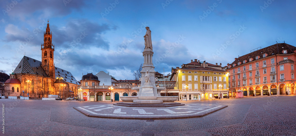 Bolzano, Italy. Cityscape image of historical city of Bolzano, Trentino, Italy during twilight blue hour.