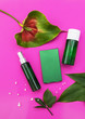 Leinwanddruck Bild - Makeup cosmetic products on vivid color background, flat lay top view.