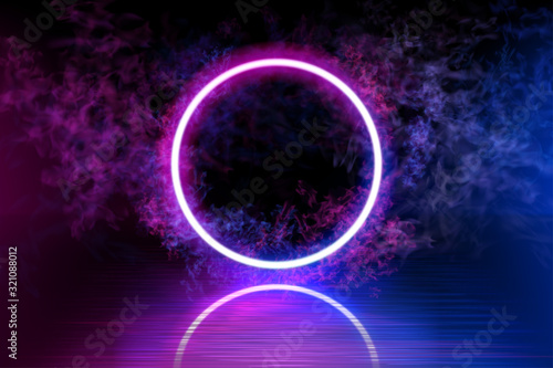 Photo Neon color geometric circle on a dark background