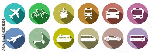 Set of standard transportation symbols colorful - fototapety na wymiar