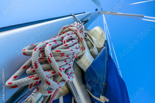 Rope Hank Hangs on the Mast of a Sailing Yacht Canvas Print