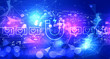 Leinwanddruck Bild - Get more likes concept with technology blurred abstract light background