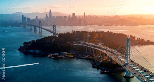 Aerial view of the Bay Bridge in San Francisco, CA Canvas Print