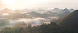 Panorama view of chocolate hills in Bohol, philippines at sunrise, mist fog, carmen, Asia - 321091255