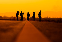 Silhouette Of Soldier Team Bac...