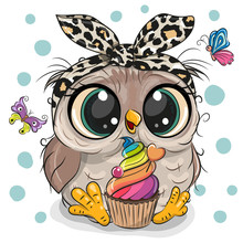 Cartoon Owl With Cake And Butt...