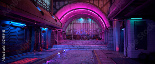 Bright neon night in a cyberpunk city. Photorealistic 3d illustration of the futuristic city. Empty street with blue neon lights. - 321098483