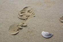Footprint In Sand With Broken ...