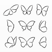 Variety Of Butterfly Silhouett...