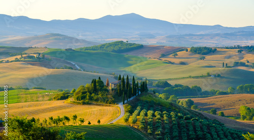 Fototapety, obrazy: Late summer aerial landscape of valley in Tuscany