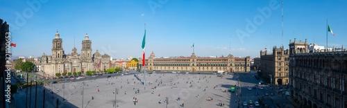Fototapeta Zocalo Constitution Square and Metropolitan Cathedral at Historic center of Mexico City CDMX, Mexico