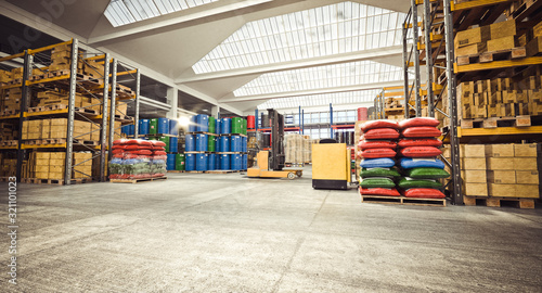 interior of a storage warehouse with means for moving goods