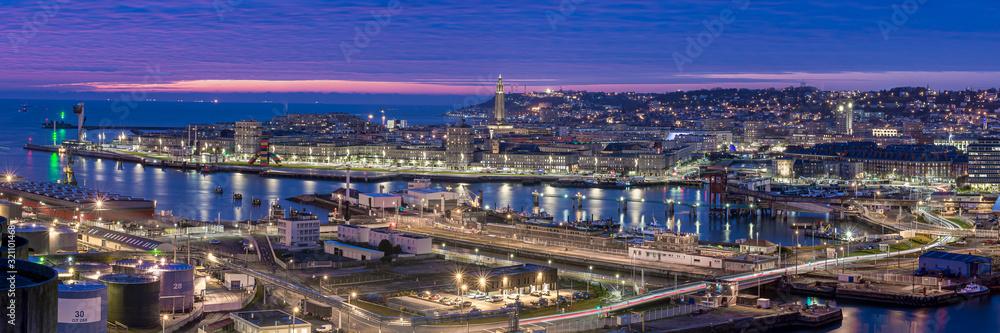 Fototapeta Panorama Ville du Havre de nuit