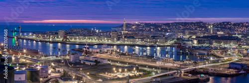 Cuadros en Lienzo Panorama Ville du Havre de nuit
