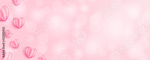 Hearts bokeh background banner vector pink rose (valentines day, wedding, mothers day)