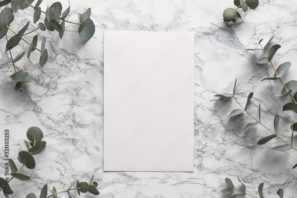 Fototapeta Beautiful abstract floral background. Flat lay, top view eucalyptus on marble background, flat lay on light textured stone table surface. Minimal concept with text space. Trendy background.