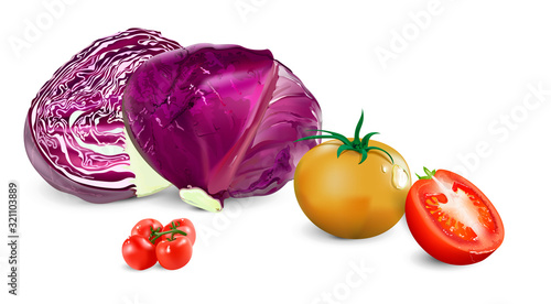 Photo Blue cabbage and tomatoes on a white background.