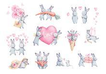 Cute Rabbits Watercolor Set Flat Illustration. Isolated  Baby Bunny Collection. Pretty Little Hare Character Cartoon Style. Drawn Fluffy Lapin Print Design. Valentines Day. Spring Drawing.