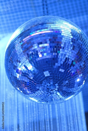 disco ball on blue background of lights - 321104452