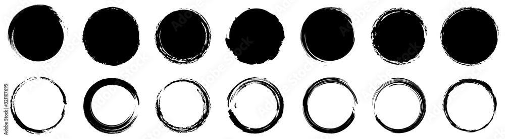 Fototapeta Grunge round shapes. Grunge banner collection. Vector