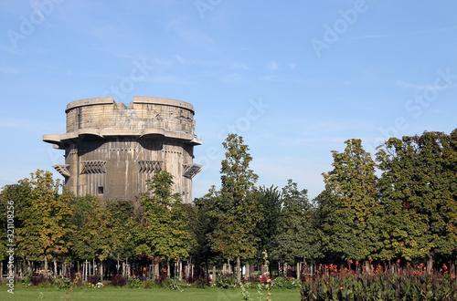 Flakturm anti aircraft tower in Augarten park Vienna Canvas Print