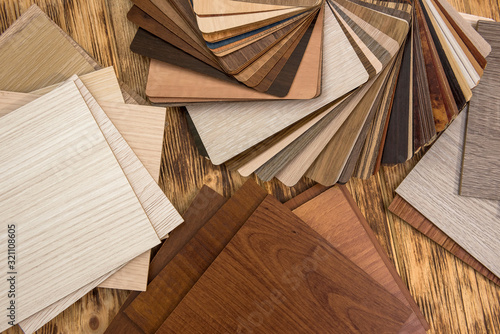 Fototapeta wooden color swatch choosing wood material for housing project. Architecture and construction. obraz na płótnie