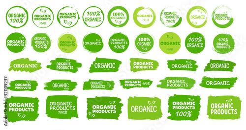 Fototapeta Organic product stamp icon on white background. Vector. obraz