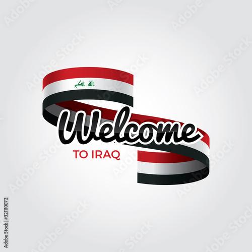 Welcome to Iraq flag. Patriotic design. Vector illustration. Fototapeta