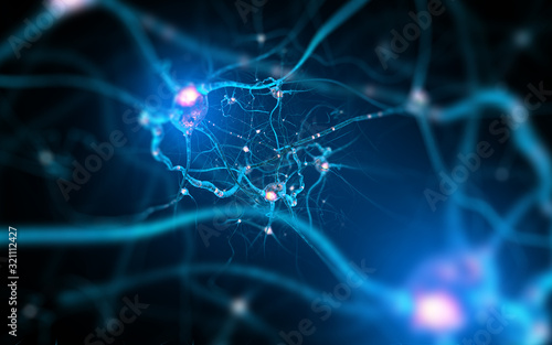 Fototapeta Neurons and nervous system. 3d render of nerve cells obraz