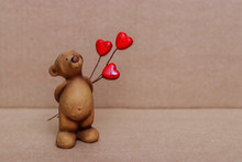 A Cute Teddy Bear Made Of Clay...