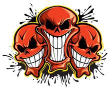 3 Red Skulls
