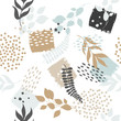 Seamless exotic pattern with plants. Vector