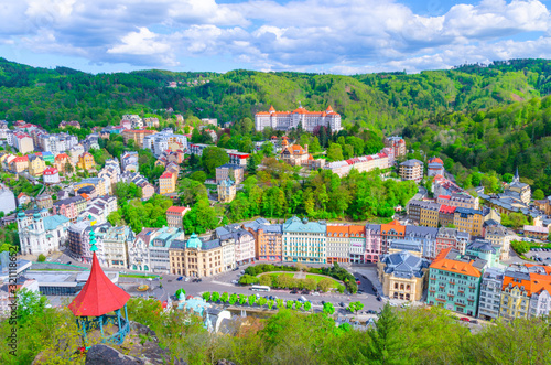 Valokuva Karlovy Vary (Carlsbad) historical city centre top aerial view with colorful bea