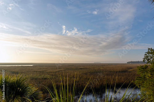 Photo A beautiful landscape background of the lowcountry salt marsh near Sapelo Island, coastal Georgia, USA, home to an important marine estuary research centre