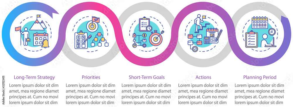 Fototapeta Long-term strategy vector infographic template. Achieving goals presentation design elements. Data visualization with 5 steps. Process timeline chart. Workflow layout with linear icons