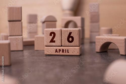 Fototapety, obrazy: April 26 written with wooden blocks