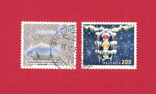 Briefmarke Stamp Helvetia Schweiz Winter Schnee Snow Ampel Traffic Light Eiszapfen 200 Hydnellum Caeruleum Pilz Mushroom Schwamm