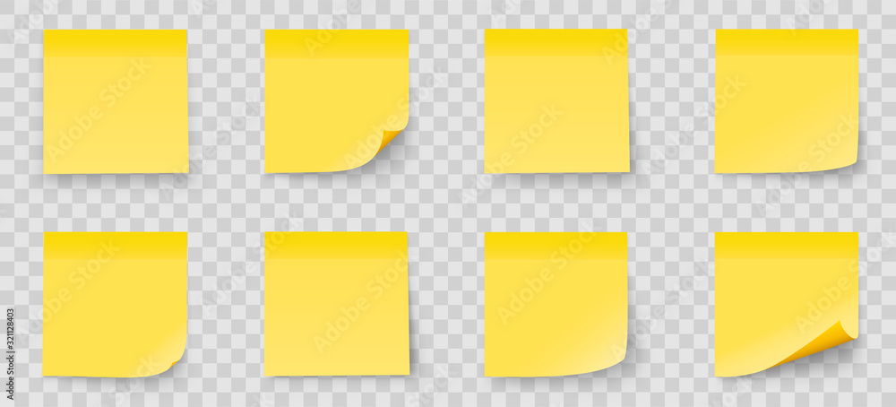 Fototapeta Realystic set stick note isolated on transparent background. Yellow color. Post it notes collection with shadow - stock vector.