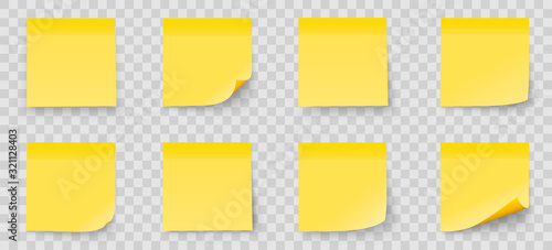 Obraz Realystic set stick note isolated on transparent background. Yellow color. Post it notes collection with shadow - stock vector. - fototapety do salonu