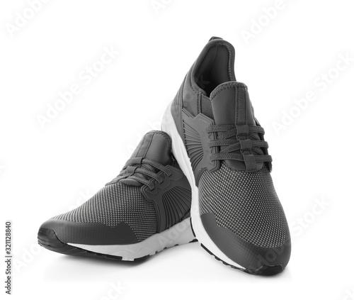 Photo Pair of stylish shoes on white background