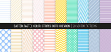 Easter Pastel Rainbow Color Stripes, Polka Dots And Chevron Vector Patterns. Light Shades Of Rose Pink, Coral, Beige, Yellow, Turquoise, Blue, Lilac And Purple. 20 Pattern Tile Swatches Included.