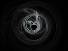 Abstract Flame Heart On Black ...