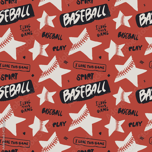 Baseball seamless color pattern with text and stars. Hand-drawn background with hand-written phrases, sports wallpaper for children's textiles. Lettering, grunge style.